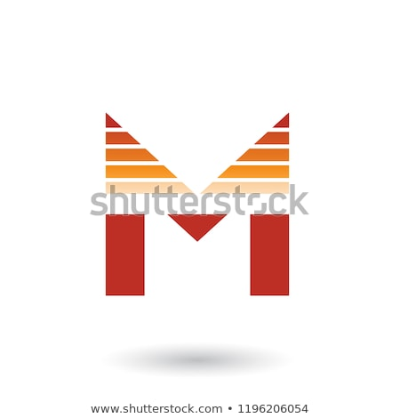 Red and Orange Spiky Letter M with Horizontal Stripes Vector Ill Stock photo © cidepix