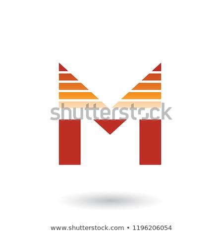 Piros narancs m betű vízszintes csíkok vektor Stock fotó © cidepix