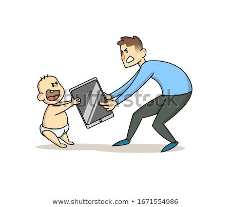 Children s Gadget Dependence Vector. Father Takes Smartphone From Son. Internet Addiction. Isolated  Stock photo © pikepicture