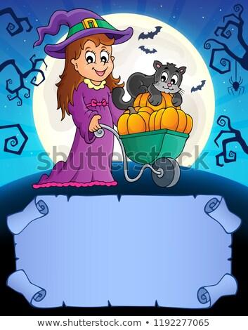 pergaminho · halloween · abóboras · cara · arte · noite - foto stock © clairev