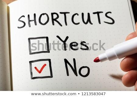 Személy kiválaszt nem opció jelző tart Stock fotó © AndreyPopov