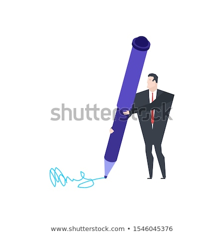 Little Businessman and Big Pen. Write signature for documents. Stock photo © MaryValery