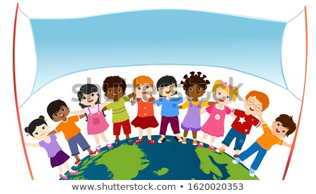 Two Girls Child Holding The Earth Vector. Illustration Stock photo © pikepicture