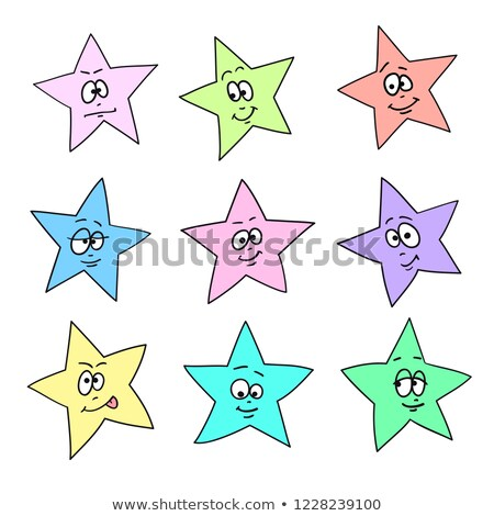 Cartoon faces emotions. Set of color festive fun stars. Different hand drawing star shapes Stock photo © ESSL