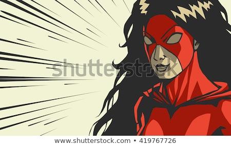 Karikatür öfkeli süper kahraman kadın bakıyor Stok fotoğraf © cthoman