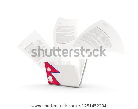 bayrak · Nepal · yalıtılmış · beyaz · 3d · illustration · etiket - stok fotoğraf © mikhailmishchenko