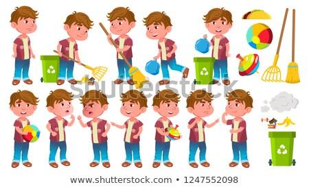 Boy Kindergarten Kid Poses Set Vector. Friendly Little Children. Cute, Comic. For Web, Brochure, Pos Stock photo © pikepicture