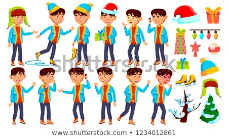 Christmas Boy Schoolboy Kid Poses Set Vector. Primary School Child. Cheerful Pupil. Emotional. For B Stock photo © pikepicture