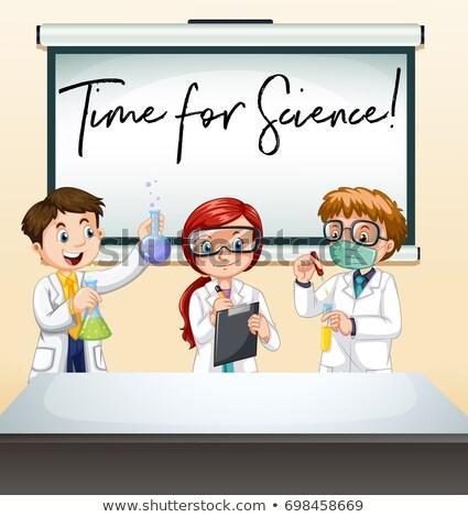 Foto stock: Tres · científicos · laboratorio · tiempo · ciencia