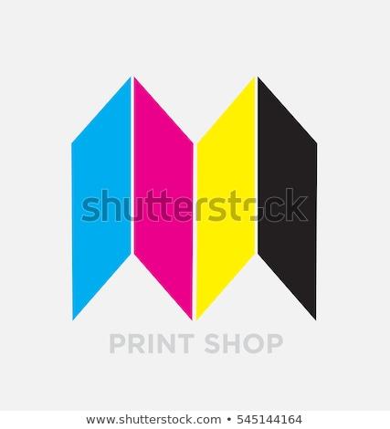 Carta logotipo ciano preto ícone símbolo Foto stock © blaskorizov