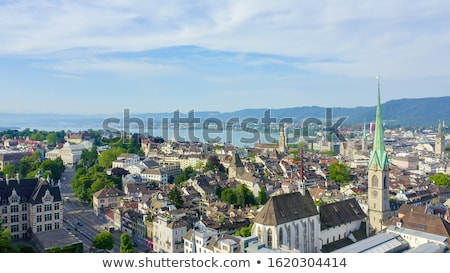 Zürich · Zwitserland · kerk · hemel · huis · zonsondergang - stockfoto © boggy