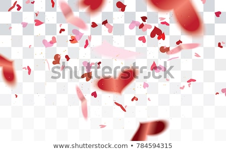 Stock photo: Vector realistic isolated heart confetti on the transparent background for decoration and covering.