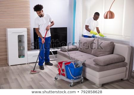 Kettő fiatal takarítás nappali oldalnézet két személy Stock fotó © AndreyPopov