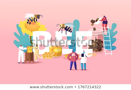 Woman and Beekeeper in Uniform Vector Illustration Stock photo © robuart