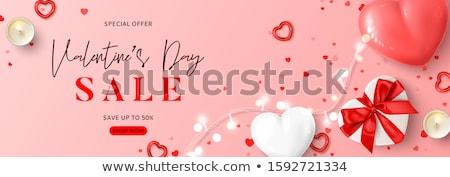 Rosa romantica carta scatola regalo ghirlanda vettore Foto d'archivio © frimufilms