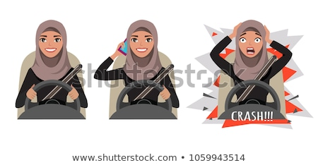 Woman driving car and talking on mobile phone Stock photo © amok