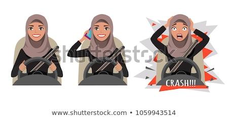 Vrouw rijden auto praten mobiele telefoon jonge Stockfoto © amok