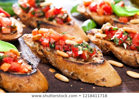 Toasted baguette with tomatoes and cheese Stock photo © BarbaraNeveu