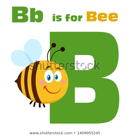 Bee Cartoon Character Flying Over Letter B And Text Stock photo © hittoon