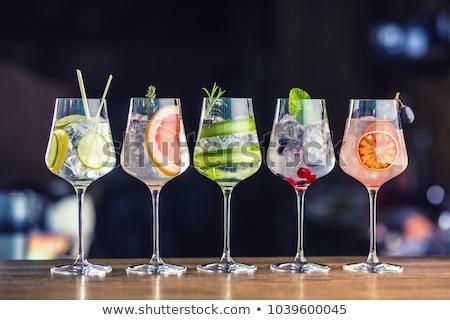 glas · gin · mint · kalk · ijs · donkere - stockfoto © barbaraneveu