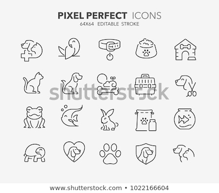 cat and dog line icons set stock photo © voysla
