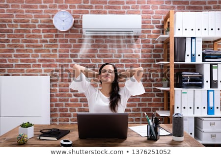 Stockfoto: Businesswoman Enjoying The Cooling Of Air Conditioner