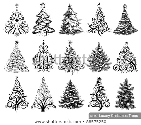 Luxuriously decorated Christmas tree with snow set Stock photo © Blue_daemon