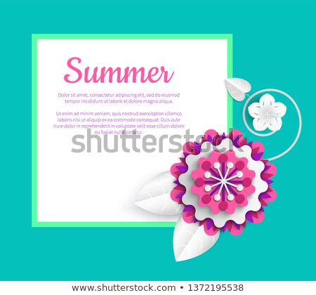 poster with peony origami summer flower vector stock photo © robuart
