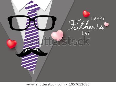 Szczęśliwy dzień ojca banner projektu okulary człowiek szczęśliwy Zdjęcia stock © SArts