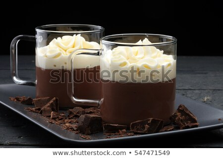 Chocolate Mousse With Whipped Cream And Cookies Stock photo © mpessaris