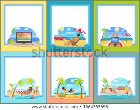 Freelance trabalhar praia mar Foto stock © robuart