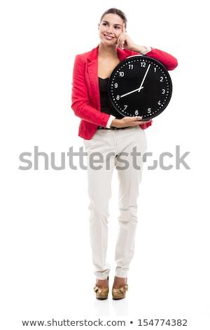 vrouw · groot · klok · foto · witte - stockfoto © dolgachov