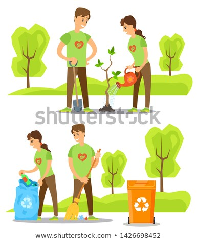 Man and Woman Watering Tree, Sweeping Trash Vector Stock photo © robuart