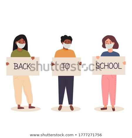 Back to School Pupils Classmates at Poster Text Stock photo © robuart
