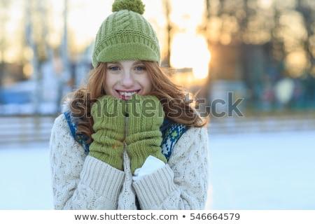 снега · девушки · зима · весело · снежный · ком - Сток-фото © monkey_business