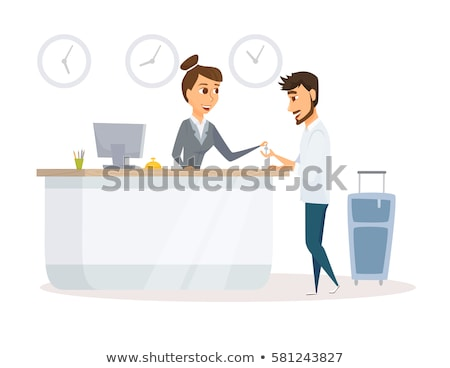 Receptionist with Keys on Reception, Isolated Stock photo © robuart