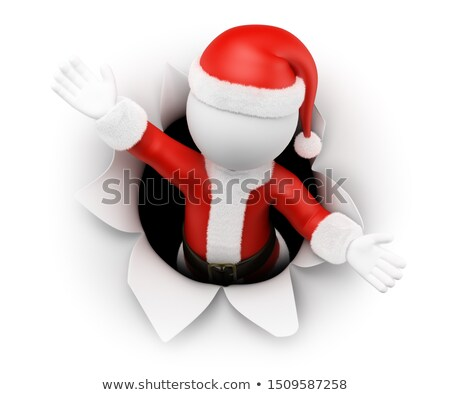 3D white people. Santa Claus leaving a hole in the paper Stock photo © texelart