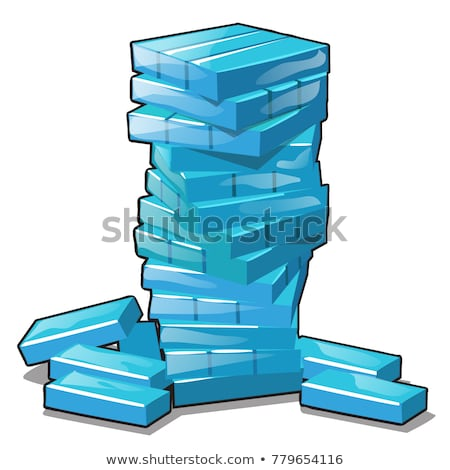 Ice briquettes stacked in a pile isolated on white background. Vector cartoon close-up illustration. Stock photo © Lady-Luck