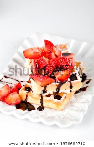 Bélgica azúcar polvo fresas chocolate cerámica Foto stock © marylooo