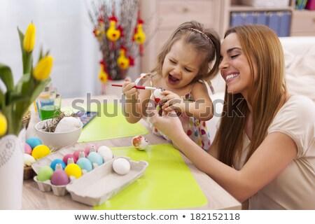 Meisje wilg paaseieren home Pasen vakantie Stockfoto © dolgachov