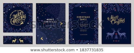Merry Christmas card of retro pine tree with gifts Stock photo © cienpies