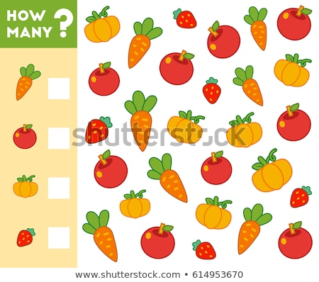 Pädagogisch Karikatur Zahlen Set Essen Objekte Stock foto © izakowski