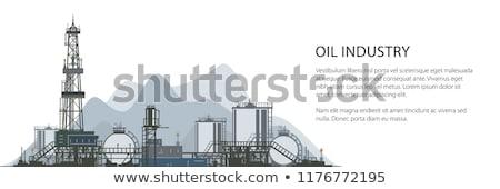 Olie-industrie banner horizontaal twee kleur iconen Stockfoto © -TAlex-
