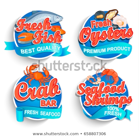 Seafood Restaurant Poster with Marine Fish Logo Stock photo © robuart