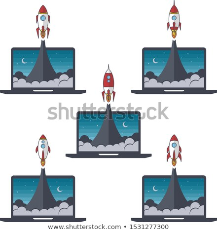 laptop notebook rocket booster vector set collection Stock photo © vector1st