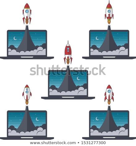 Laptop notebook rakéta gyorsítórakéta vektor szett Stock fotó © vector1st