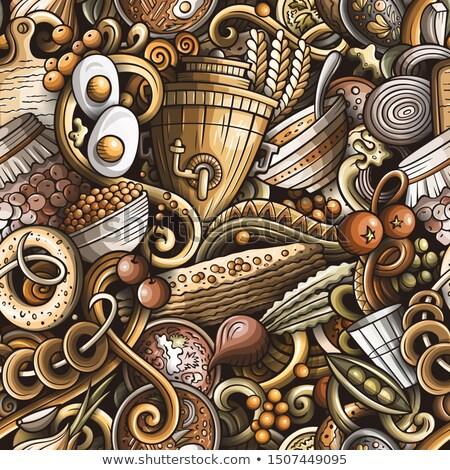 Russian food hand drawn doodles seamless pattern. Stock photo © balabolka