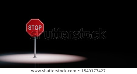 Stop Road Sign Spotlighted on Black Background Stock photo © make