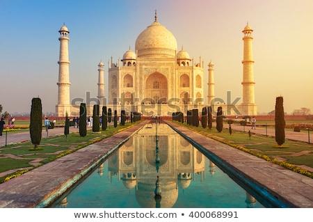 Taj Mahal ontwerp maan Maakt een reservekopie silhouet marmer Stockfoto © mayboro