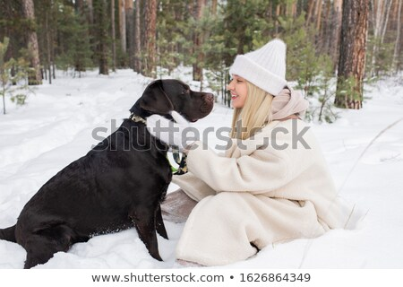 Happy young female and black retriever looking at one another during chill Stock photo © pressmaster
